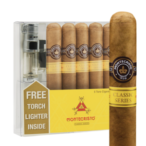Montecristo Classic Toro 5 Pack + Torch Lighter